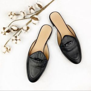 J Crew | Black Piped Leather Loafer Mules